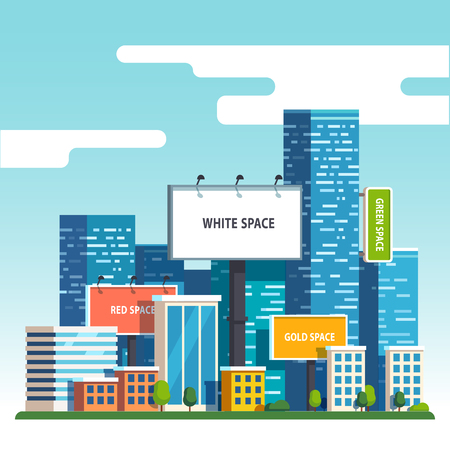 urban street: Large blank urban billboards with copy space text standing high over large city street skyscrapers buildings. Flat style vector illustration template.