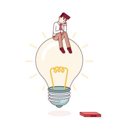 hombre de negocios sentado en la bombilla de la IDEA y el pensamiento. La resolución de problemas y la búsqueda de concepto de la solución. Estilo moderno plana delgada línea ilustración vectorial metáfora. Concepto aislado sobre fondo blanco.