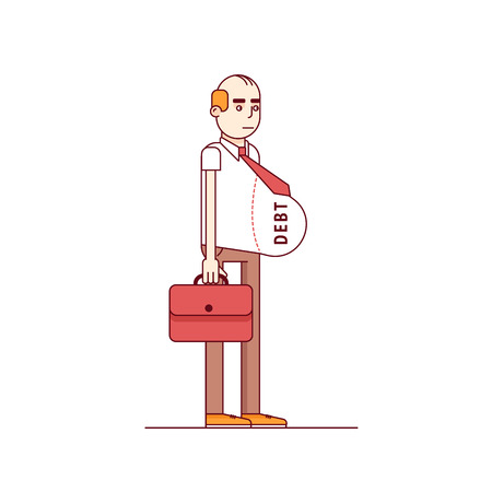 Skinny male business man with fat debt burden paunch. Fake wealth and prosperity with loans and credit debt concept. Modern flat style thin line vector illustration. Concept isolated on white.
