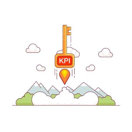 sky metaphor: KPI growth concept. Key performance indicator skyrocket trough the sky. Tremendous business success metaphor. Modern flat style thin line vector illustration isolated on white background. Illustration
