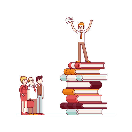 knowledge business: Business visionary leader and mentor speaking to group of businessman people. Standing on top of big heap of books and knowledge. Modern flat style thin line vector illustration.