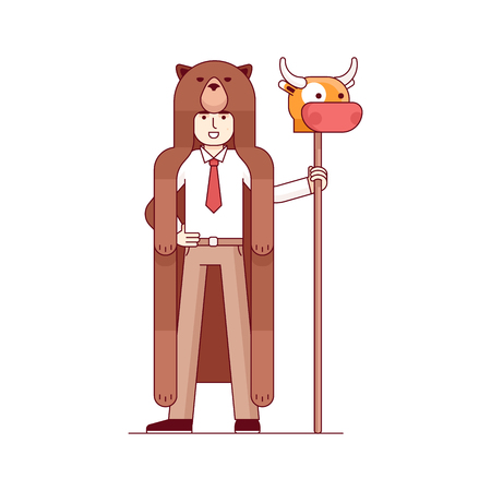 wallstreet: Stock exchange market bears metaphor. Businessman wearing bear pelt and holding bull head on a spear. Trading business concept. Modern flat style thin line vector illustration isolated on white.