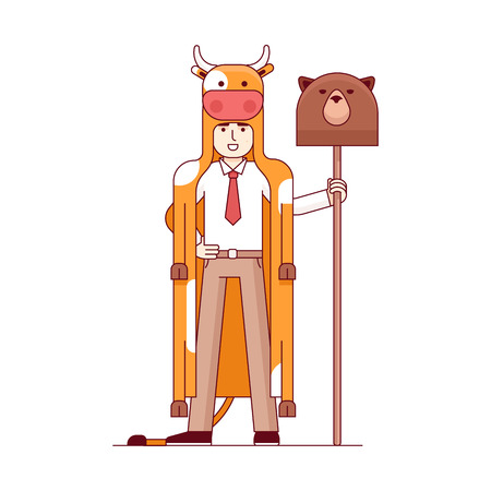 wallstreet: Stock exchange market bears metaphor. Businessman wearing bull pelt and holding bear head on a spear. Trading business concept. Modern flat style thin line vector illustration isolated on white.