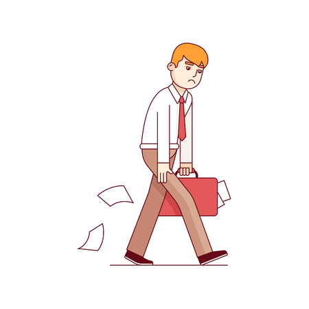 Frustrated business man walking sad and hunched. Holding his paper stuffed suitcase and losing paperwork documents. Modern flat style thin line vector illustration isolated on white background.