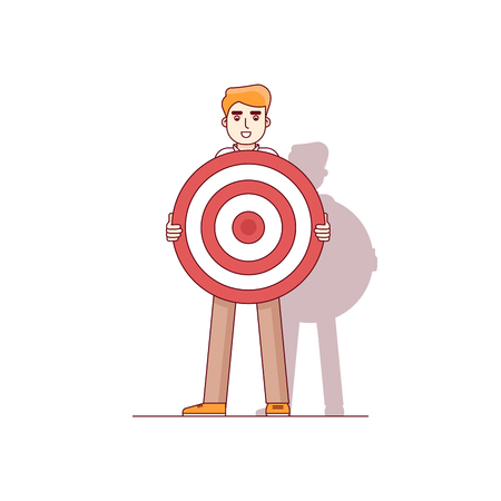 waiting line: Business man holding big aim target bravely waiting for an arrow of opportunity. Modern flat style thin line vector illustration. Concept isolated on white background. Illustration