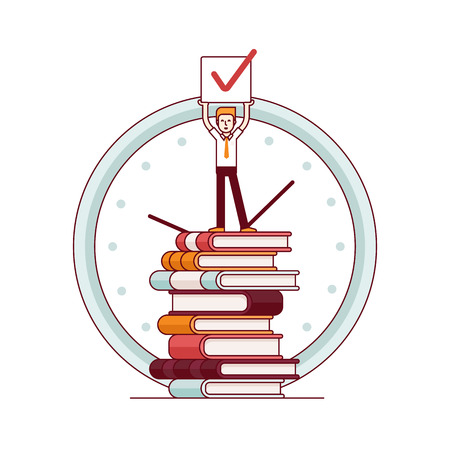 books isolated: Business man standing on a huge tower stack of books and holding job done check sign in hands above his head. Modern flat style thin line vector illustration. Concept isolated on white background.