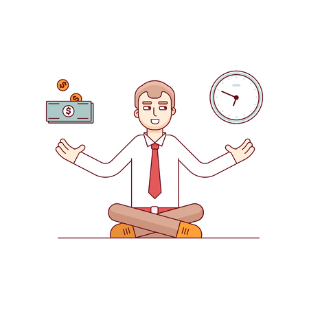 Business man sitting in lotus meditation pose finding balance on metaphoric scales of money and time. Modern flat style thin line vector illustration. Concept isolated on white background.