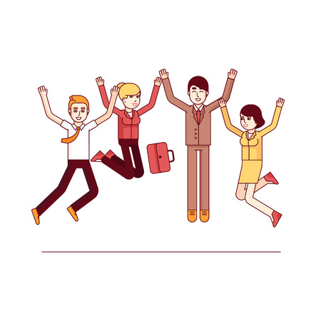 people in line: Happy jumping high business people celebrating their success and achievements. Modern flat style thin line vector illustration. Concept isolated on white background.