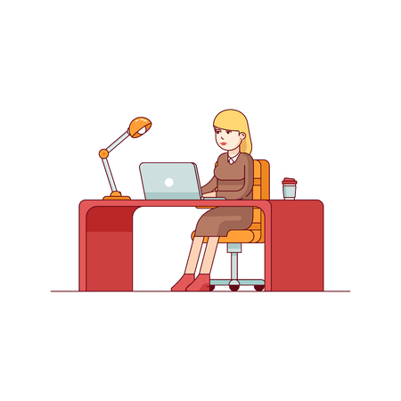 Business woman lady entrepreneur in a suit working on a laptop computer at her clean and sleek office desk. Modern flat style thin line vector illustration. Concept isolated on white background.