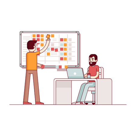 Two developers planning their work. Scrum task board hanging in a team room full of tasks on sticky note cards. Modern flat style thin line vector illustration. Concept isolated on white background. Ilustracja