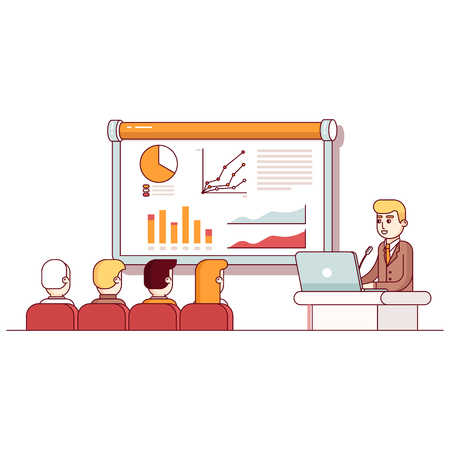 presentation screen: Businessman giving a speech showing sales statistics graph on presentation screen in the conference room. Modern flat style thin line vector illustration. Concept isolated on white background. Illustration