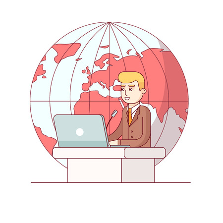 Politician or global business man giving a speech standing at rostrum with laptop in front of earth globe background. Modern flat style thin line vector illustration. Concept isolated on white.