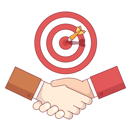 Businessman shaking hand under target aim with sticking dart. Business achievement and accomplishment concept. Modern flat style thin line vector illustration isolated on white background. Illustration