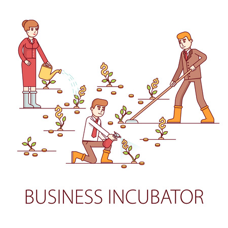 Business incubator concept. Skilled businessman and investors growing sprouts of a new businesses fertilizing with money and expertise. Modern flat style thin line vector illustration.