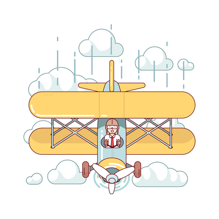 airman: Business man professional pilot flying double-decker air plane high in the sky clouds. Modern flat style thin line vector illustration isolated on white background.