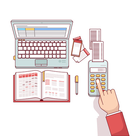 Business man planning, calculating and scheduling his expenses or taxes with his spreadsheets on laptop computer and notepad. Flat style thin line vector illustration isolated on white background.