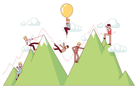 Ups and downs on a entrepreneur path of business concept. Businessman climbing trend mountains and risking capital. Modern flat style thin line vector illustration isolated on white background. Illustration