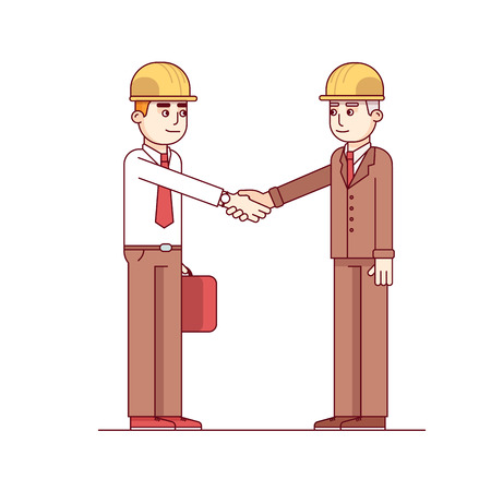 hard hats: Two architects or building engineers shaking hands in agreement. Standing business man in yellow hard hats. Modern flat style thin line vector illustration isolated on white background. Illustration