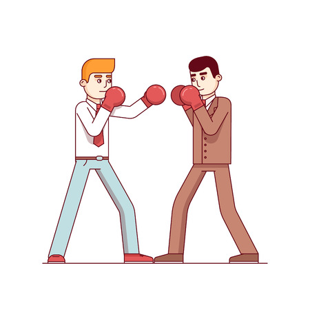 Business man competitors in suits fighting in boxing gloves. On hitting other defending in a box duel. Modern flat style thin line vector illustration isolated on white background. Illustration
