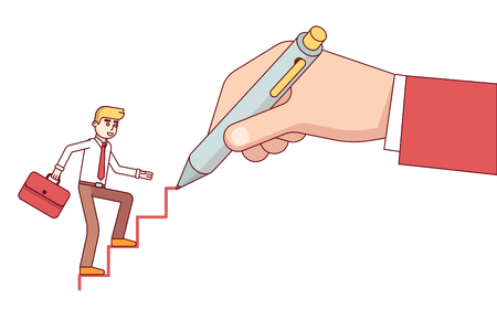 Business mentor huge hand drawing ladder steps for a small business man. Modern flat style thin line vector illustration isolated on white background. Illustration