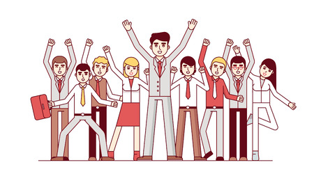 business group: Big team celebrating huge success and business achievements. Standing together and waving hands. Modern flat style thin line vector illustration isolated on white background. Illustration