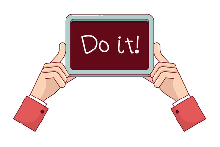 do it: Business man hands showing handwritten Do it sign. Holding motivational plate. Modern flat style thin line vector illustration isolated on white background. Illustration
