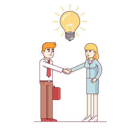 Business man and woman shaking hands to start a new venture on a bright idea. Hiring talented staff with creative mind. Modern flat style thin line vector illustration isolated on white background.