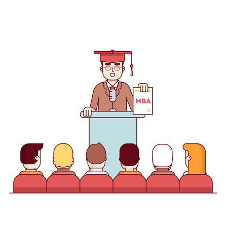 rostrum: MBA student graduation rostrum speech. Master of business administration graduate showing new diploma to fellow students. Modern flat style thin line vector illustration isolated on white background.
