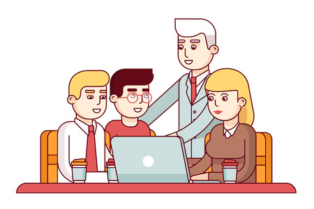 manager team: Team of young employees showing their project to chief executive manager or ceo. Business man encouraging his workers. Modern flat style thin line vector illustration isolated on white background. Illustration