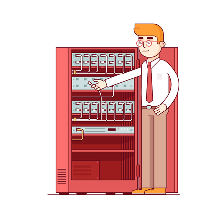 rack server: Computer systems engineer connecting internet fiber optic cable to machine in server rack. Network admin working with equipment. Flat style thin line vector illustration isolated on white background. Illustration