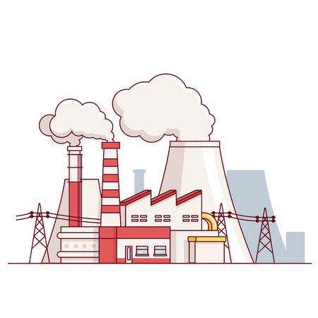 endangering: Factory building. Electrical power production plant with transmission lines and steam pipes. Modern flat style thin line vector illustration isolated on white background.