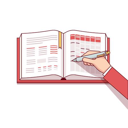 L'homme d'affaires écrit son horaire de jour dans le cahier ou le calendrier. Faire des marques avec sa plume. Moderne de style plat ligne mince illustration vectorielle. Concept isolé sur fond blanc.