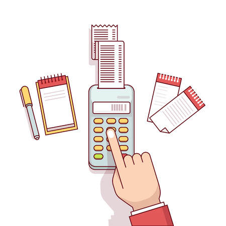 Office worker business clerk making expense calculations. Sitting at the desk with receipt printer and writing to a note book. Flat style thin line vector illustration isolated on white background. Illustration