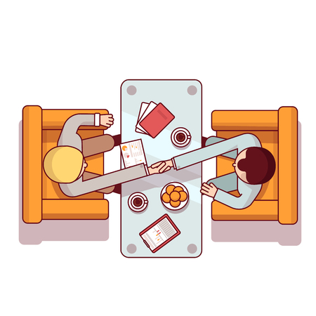 business deal: Business man shaking hands over glass table sitting in armchairs. Partnership agreement deal concept. Modern flat style thin line top view vector illustration isolated on white background. Illustration