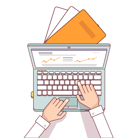 Business man hands using laptop computer making online sales analytics report. Modern flat style thin line top view vector illustration isolated on white background. Иллюстрация