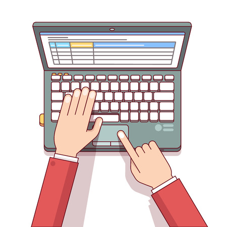 Business man or accountant hands using laptop computer to calculate something with spreadsheet tables app. Modern flat style thin line top view vector illustration isolated on white background.