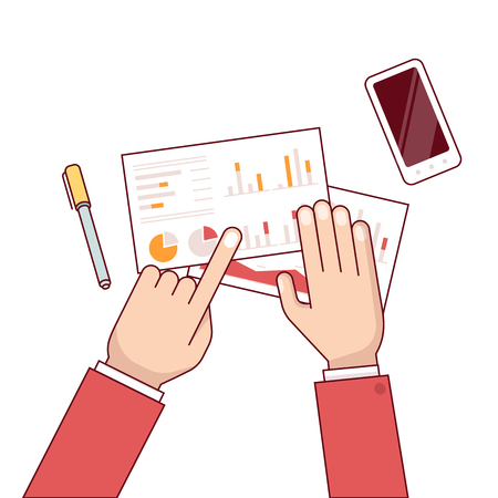 Meeting of business man group discussing statistical data over the desk. Talking about sales and financial graphs and charts. Clipboard, laptop and tablet. Flat style thin line vector illustration. Illustration