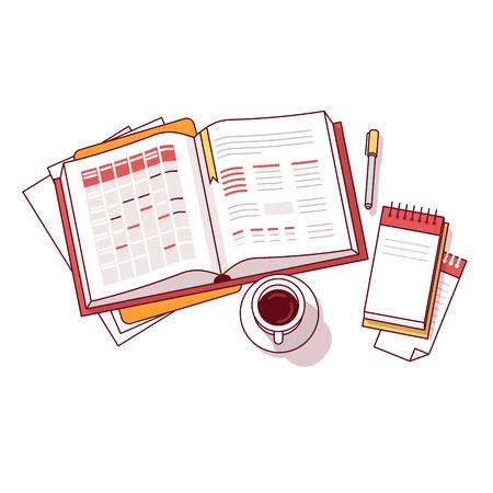 papel de notas: el programa del día del hombre de negocios por la mañana cuaderno grande con las listas de calendario de citas y tareas acompañados de pequeña libreta de notas, bolígrafo y una taza de café. delgada línea ilustración vectorial de estilo plano aislado en blanco