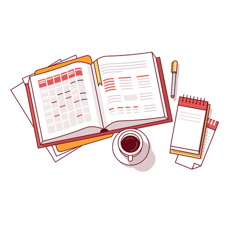 Businessman morning day schedule big notebook with appointment calendar and task lists accompanied by small memo notepad, pen and coffee cup. Flat style thin line vector illustration isolated on white