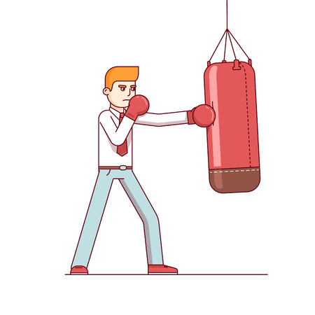 punching: Standing business man in boxing gloves hitting punching bag hard. Modern flat style thin line vector illustration isolated on white background.