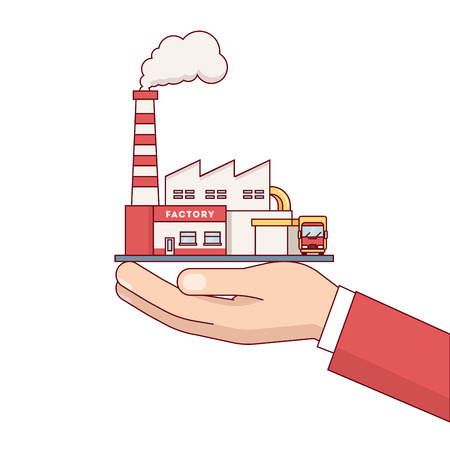 acquirement: Business man hand holding factory building for sale. Electrical power production plant with steam pipes. Modern flat style thin line vector illustration isolated on white background.