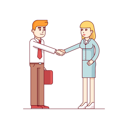 Business man and woman shaking hands. Job hire Modern flat style thin line vector illustration isolated on white background.