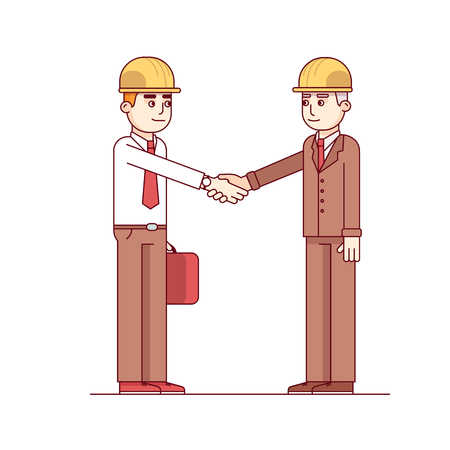 hard hats: Business man and engineer or architect in hard hats standing shaking hands. Modern flat style thin line vector illustration isolated on white background. Illustration