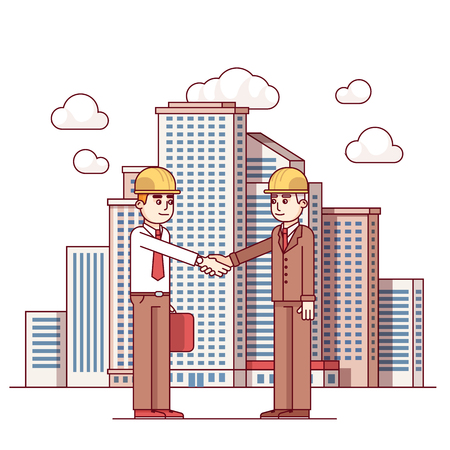 piercing: Business man shaking hands. Real estate architect and city official deal agreement. City downtown landscape with high skyscrapers piercing clouds in the sky. Flat style thin line vector illustration. Illustration