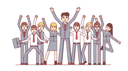 Big team celebrating huge success and business achievements. Standing together and waving hands. Modern flat style thin line vector illustration isolated on white background. Illustration