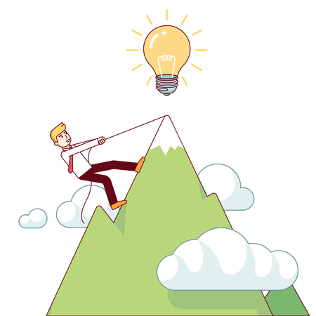 accomplish: Business man working hard climbing mountain to accomplish his great big idea. Success determination and hard work concept. Modern flat style thin line vector illustration isolated on white background.