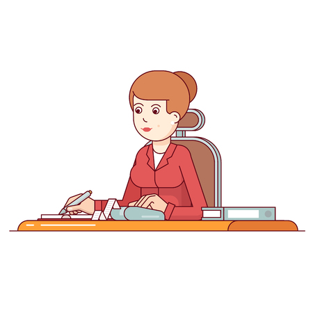 Business woman planning, calculating and scheduling her expenses or taxes writing in a notepad. Flat style thin line vector illustration isolated on white background.