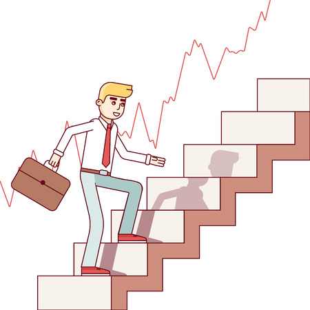 stock trader: Business man and stock trader walking up the trend stairs of growing market. Career growth ladder concept. Modern flat style thin line vector illustration isolated on white background. Illustration