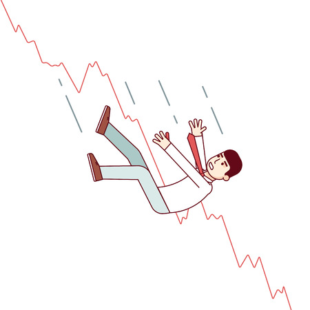 stockholder: Bankrupt business man falling down with his stocks crash shares graph. Stock market downfall concept. Modern flat style thin line vector illustration isolated on white background.