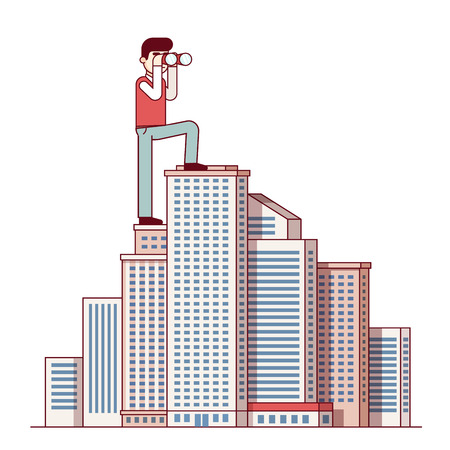 urban planning: Successful business man standing at skyscraper top and looking through binoculars. Leader and leadership concept. Modern flat style thin line vector illustration isolated on white background.